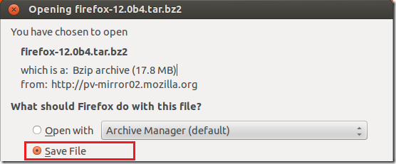 Download and Install Firefox Manually in Ubuntu 12 04