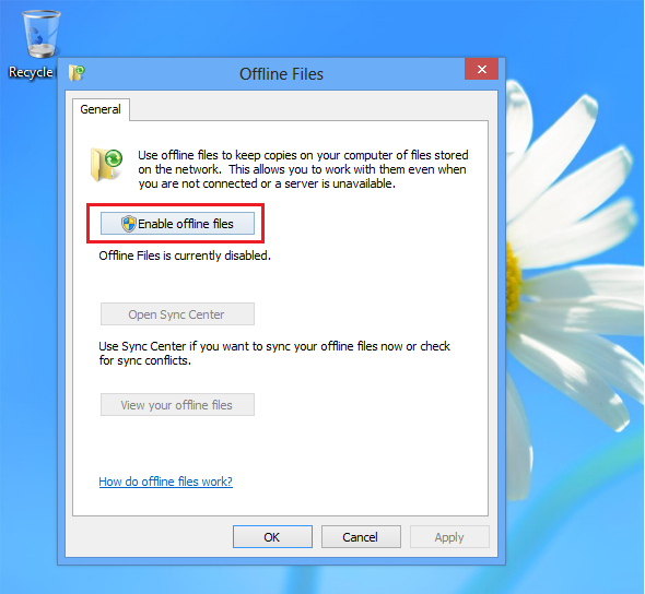 Or click disable offline files to turn the feature off