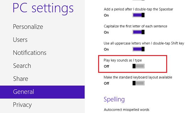 Turn Off Typing Sound in Windows 8 Tablet – Liberian Geek