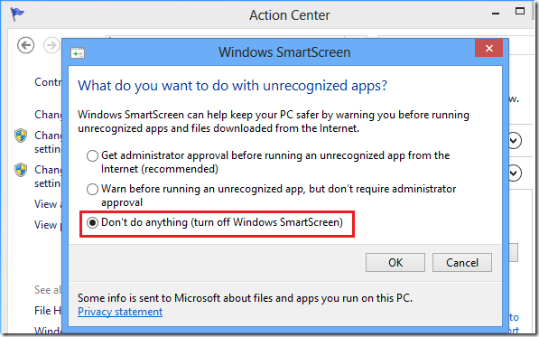 Turn off disable smartscreen filter in windows 8 for internet