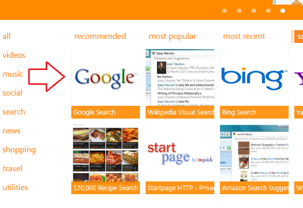 Change internet explorer search provider from bing to google in