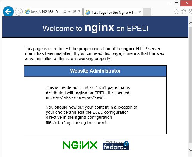 Nginx web server test CentOS