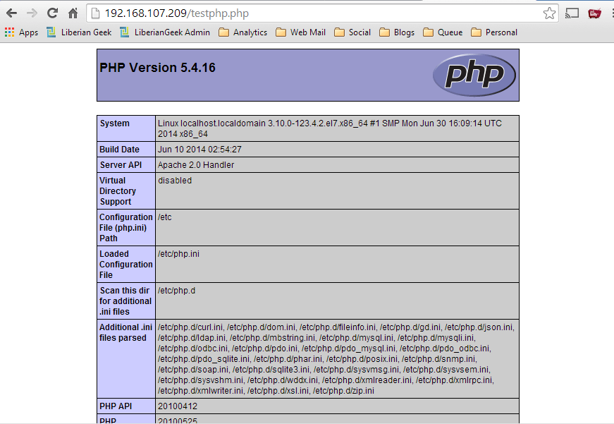 Testing php 5 in centos 7