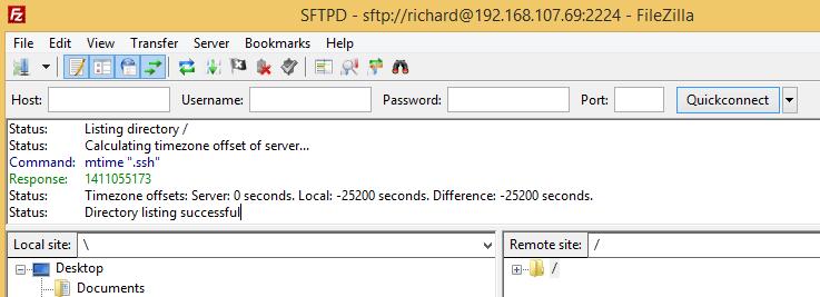 Filezilla SFTP settings
