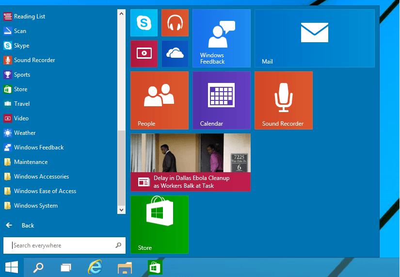 booting into start screen windows 10