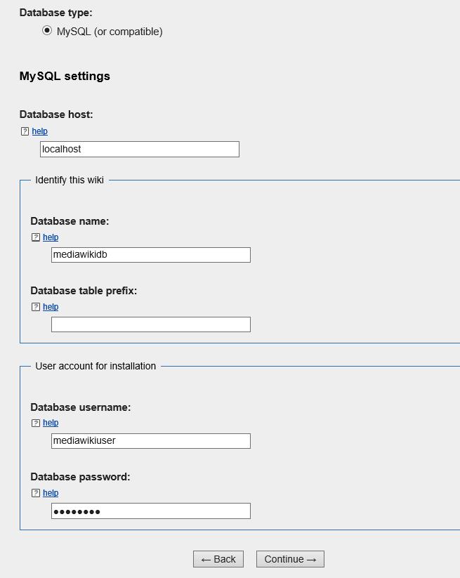 mediawiki database setup