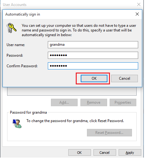 automatically sign in windows 10