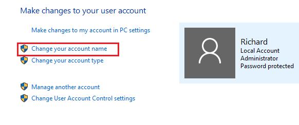 how to change name and pass on windows 10