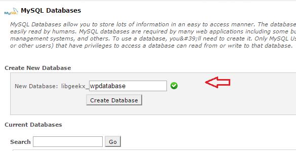create wordpress databases on cpanel