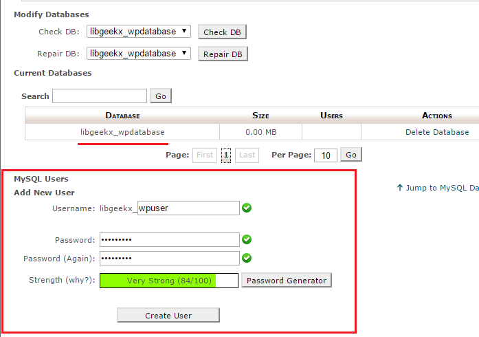 create cpanel database user