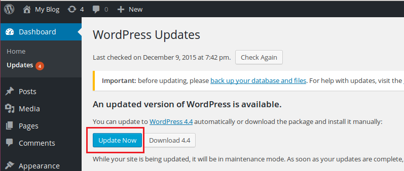 upgrade wordpress to 4.4