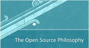 The Open Source Philosophy In blue background