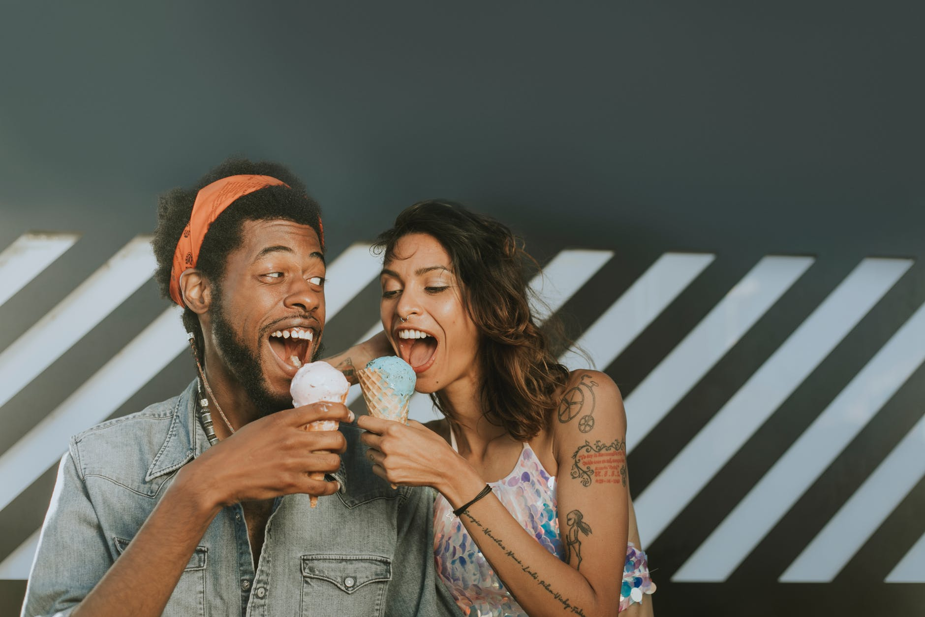couple  eating ice cream in a cone