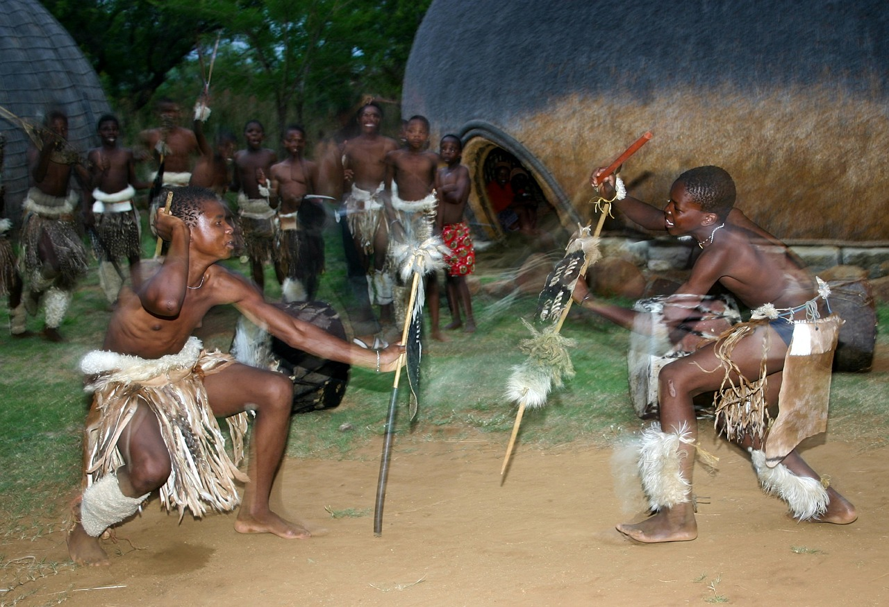 zulu tribal warriors doing some native dance